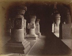 [View looking along front aisle of pillars in the Jain Cave XXXIII (Jaganatha Sabha), Ellora.]
